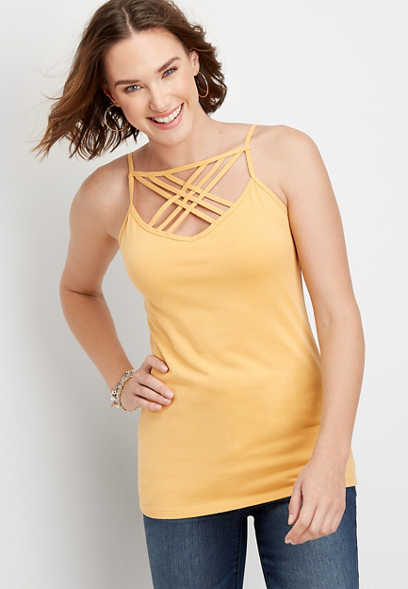 solid strappy neck layering cami