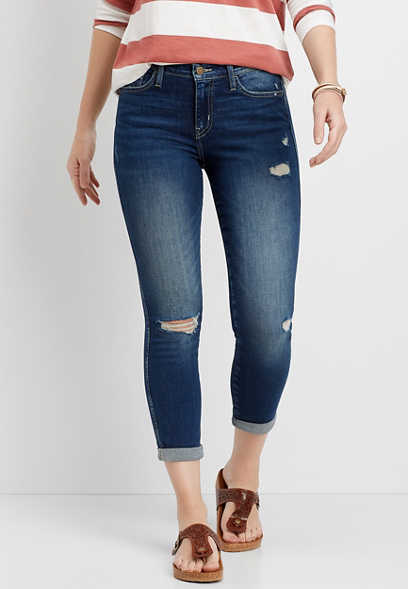 Flying Monkey™ Dark Wash Destructed Cropped Jean