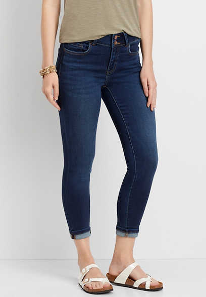 Flying Monkey™ Double Button Super Soft Cropped Jean