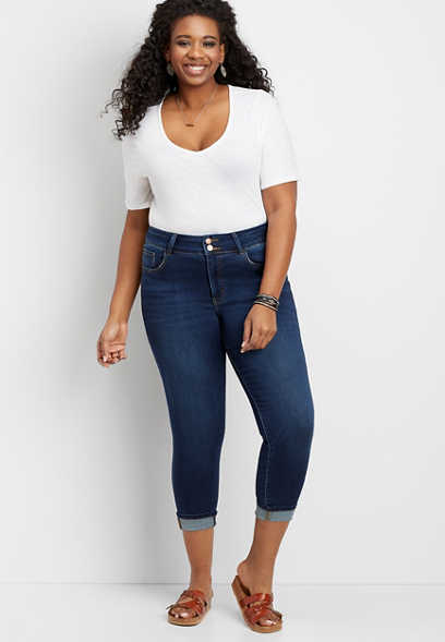 Plus Size Flying Monkey™ Double Button Super Soft Cropped Jean