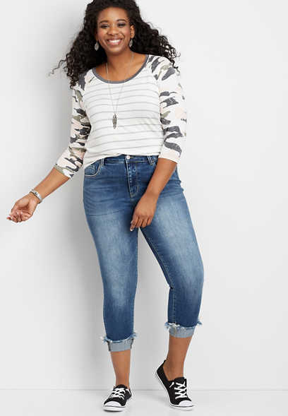 plus size Flying Monkey™ high rise fray cuffed cropped jean