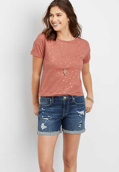 DenimFlex™ Dark Wash Destructed 5in Boyfriend Short