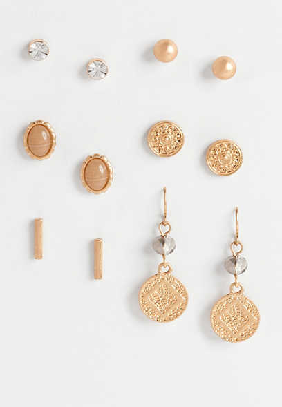 6 piece gold earring set