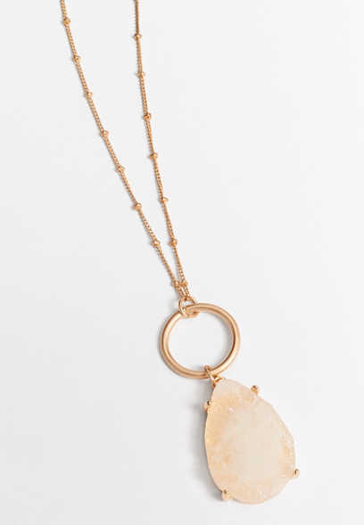 ivory druzzy pendant necklace
