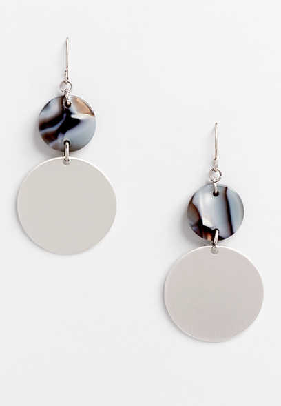 resin silver drop earrings
