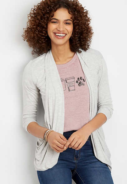 3/4 Sleeve Slouchy Pocket Cardigan