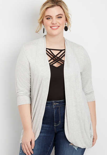 Plus Size 3/4 Sleeve Slouchy Pocket Cardigan