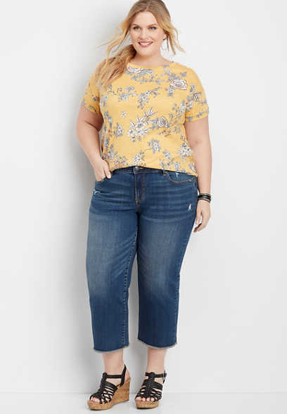 plus size DenimFlex™ dark wash wide leg cropped jean