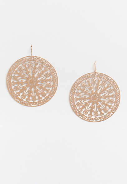 gold cutout circle drop earrings