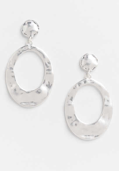 matte silver drop earrings