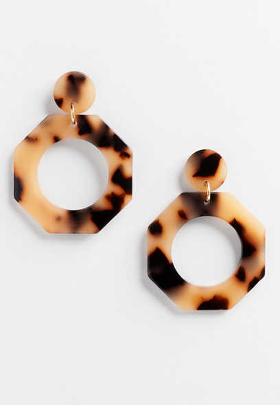 tortoise hexagon hoop earring