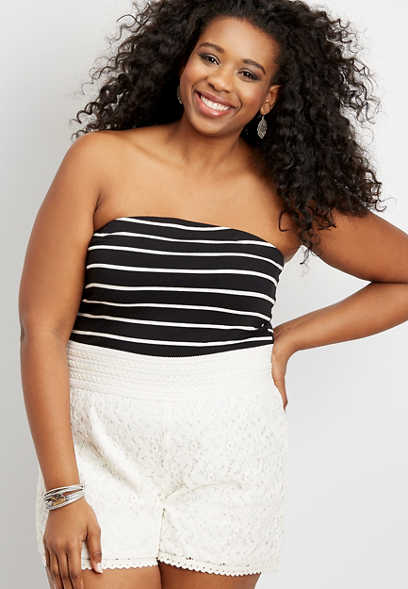 plus size 24/7 stripe tube top