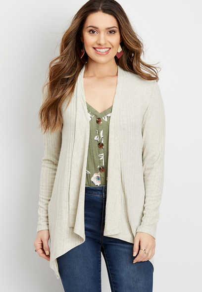 lattice back open front cardigan
