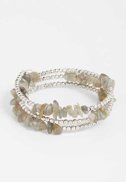gray beaded coil bracelet
