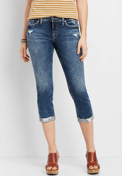 Silver Jeans Co. Elyse Destructed Cuffed Capri