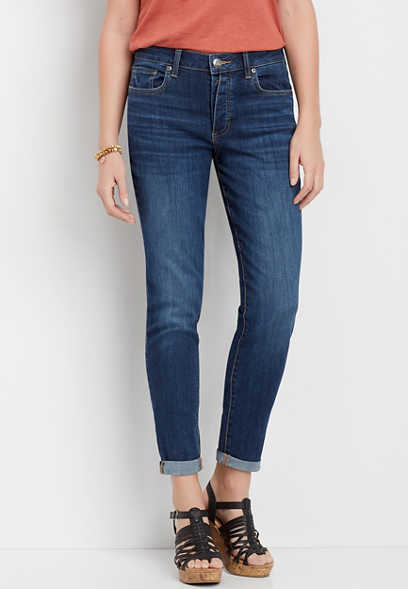 DenimFlex™ dark wash exposed button fly boyfriend jean