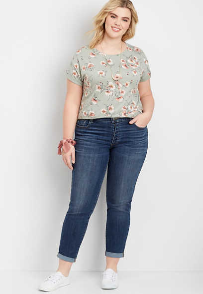 Plus Size DenimFlex™ Dark Wash Button Fly Boyfriend Jean
