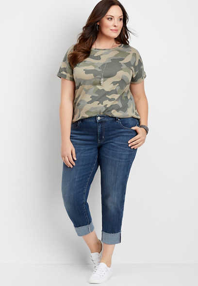 plus size DenimFlex™ medium wash cropped boyfriend jean