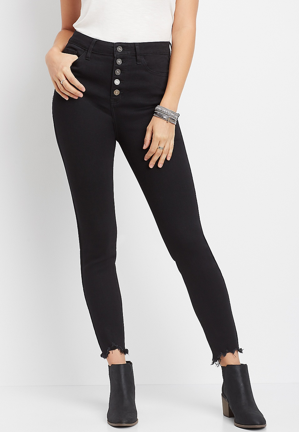 Kancan High Rise Button Fly Fray Hem Skinny Jean Maurices