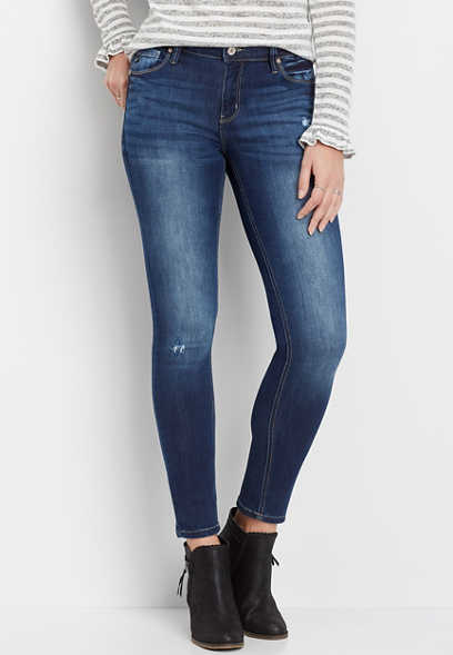 KanCan™ medium wash destructed skinny jean