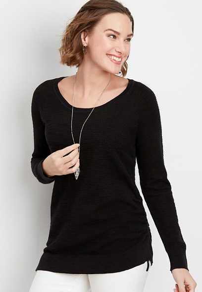 solid ruched side pullover