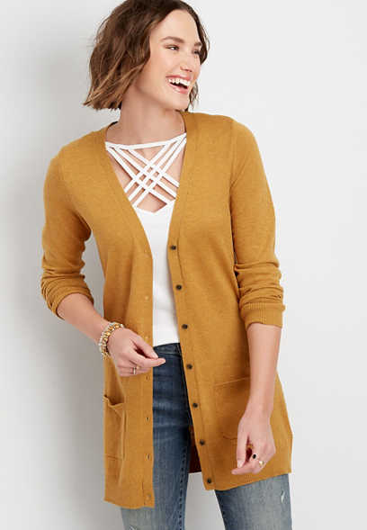 Solid Tunic Boyfriend Cardigan