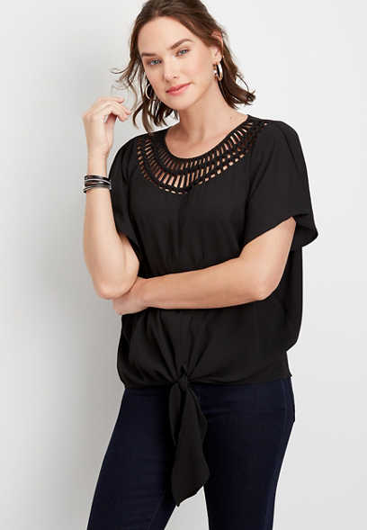 lattice neck kimono sleeve blouse