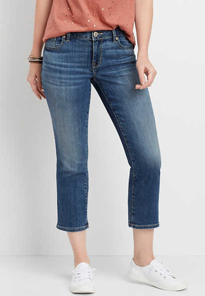 DenimFlex™ Medium Wash Crop Kick Flare Jean