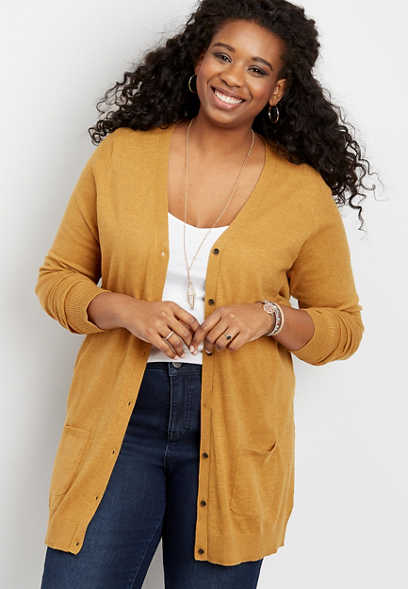 Plus Size Solid Tunic Boyfriend Cardigan