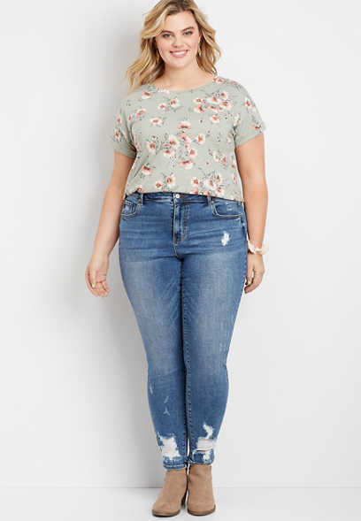 Plus Size KanCan™ Medium Wash Destroyed Skinny Jeans