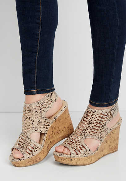 Haven cut out snakeskin wedge