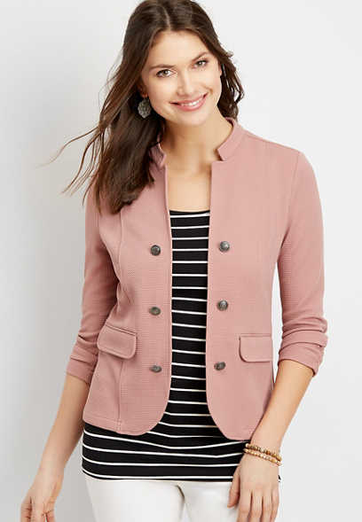 open front military blazer