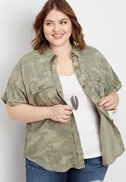 Plus Size Camo Short Sleeve Utility Shirt