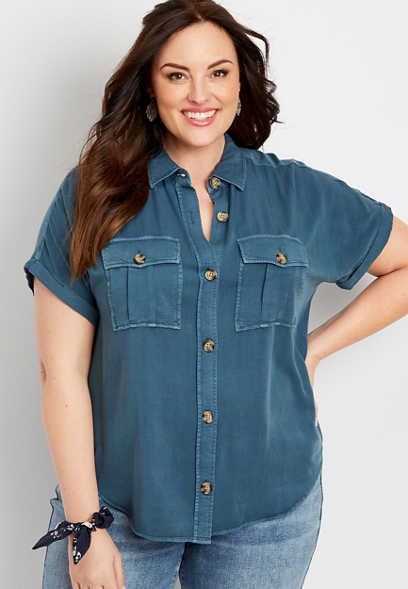Plus Size Short Sleeve Utility Shirt
