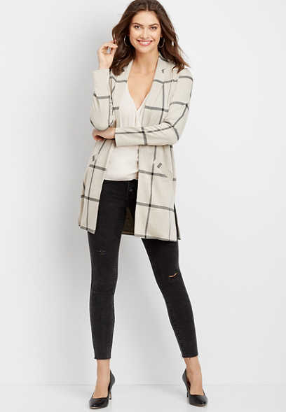 plaid open front duster blazer