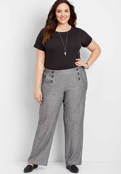 Plus Size High Rise Wide Leg Linen Sailor Pant