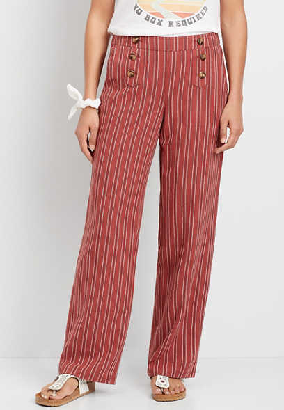 High Rise Stripe Wide Leg Linen Sailor Pant
