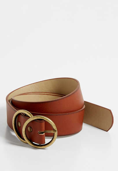 plus size double buckle ring belt