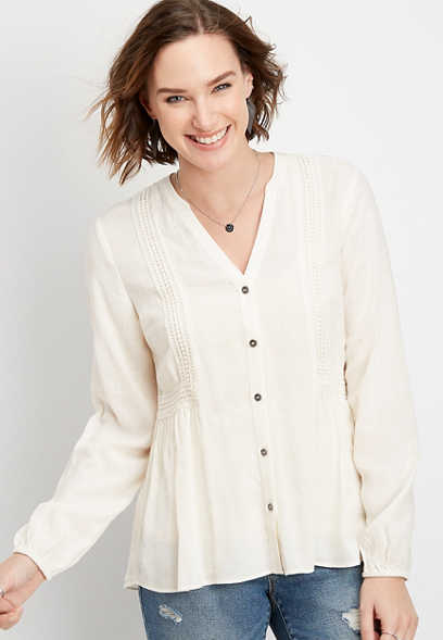 Crochet Trim Button Down Blouse