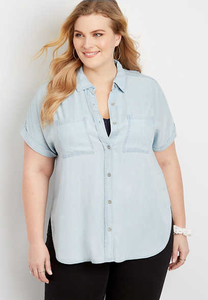 Plus Size Denim Short Sleeve Utility Shirt