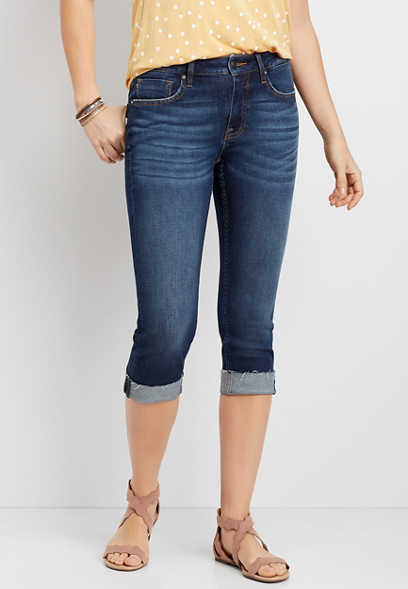 Vigoss® Classic Dark Wash Cuffed Capri
