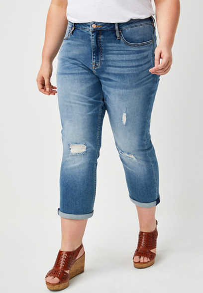 Plus Size Vigoss® Medium Wash Destructed Cropped Jean