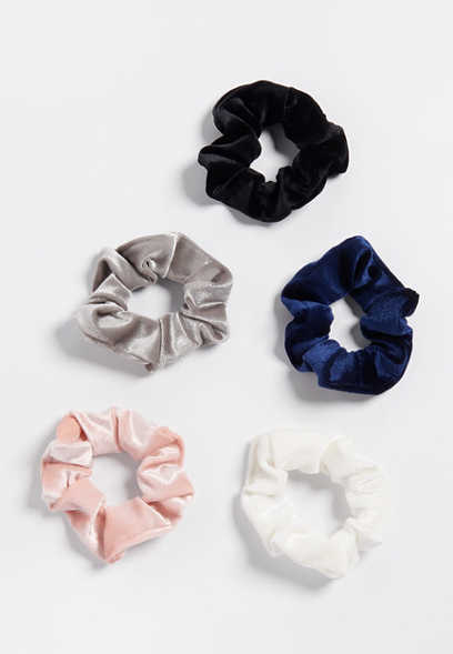 5 Pack Velvet Scrunchie Set