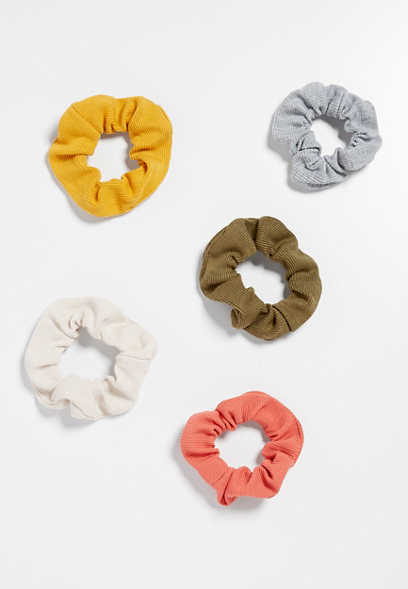 5 pack rib knit scrunchie set