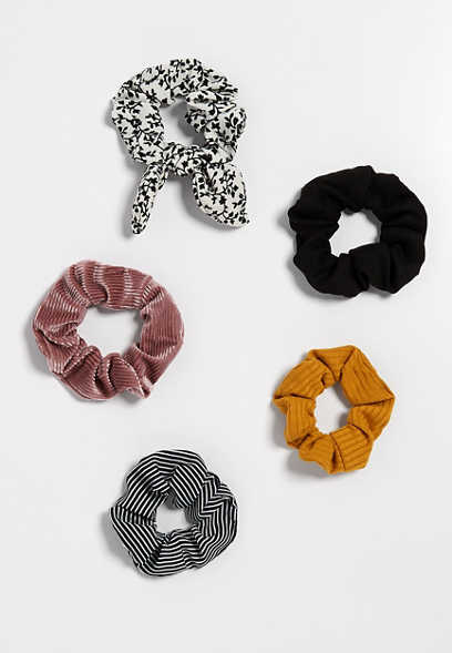 5 pack mix scrunchie set
