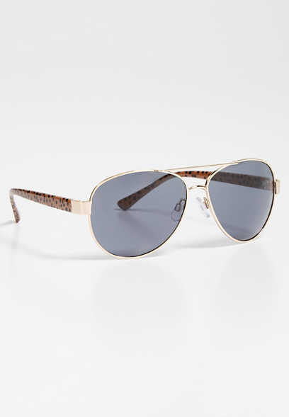 cheetah side aviator sunglasses