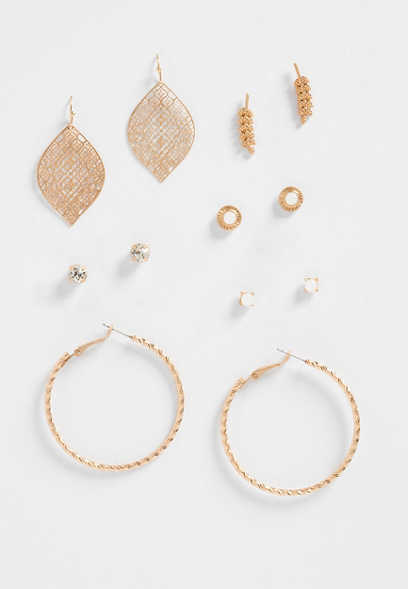 6pc Gold Earring Set