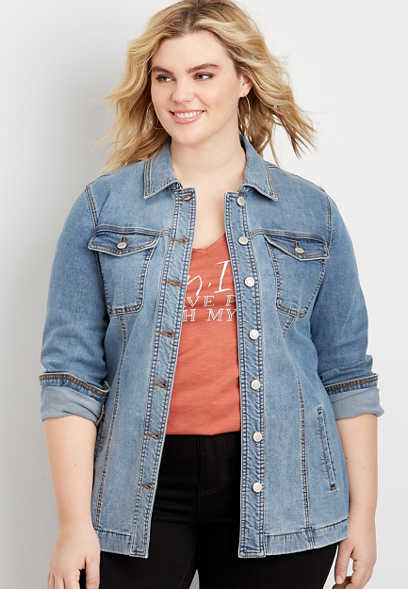 plus size medium wash belted trench denim jacket