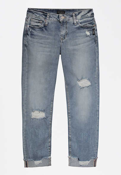 Silver Jeans Co.® Elyse Destructed Slim Boyfriend Jean