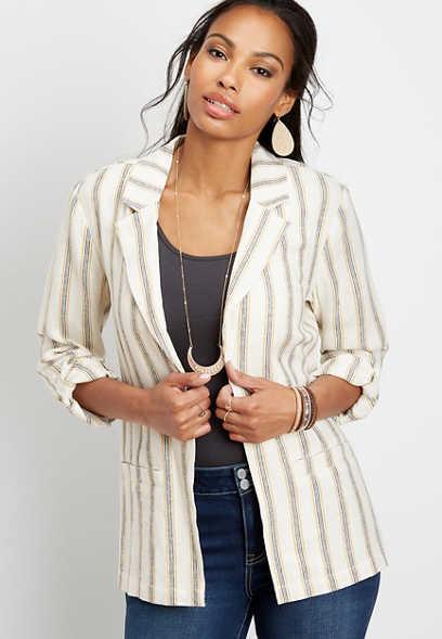 stripe open front linen blazer